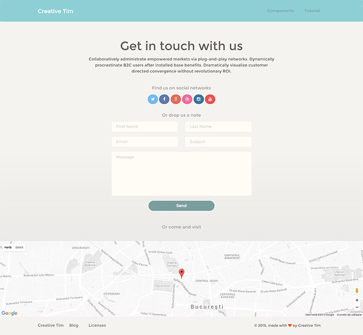 Contact Us Page Examples: Paper Kit Pro By Creative Tim